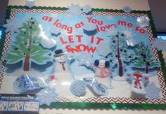 "Let It Snow! Bulletin Board Idea! Get everything you need at Stone's Education & Toys! Winter Essentials Bulletin Board Value Pack & Brown Chevron Trimmer - Creative Teaching Press 4"" Red Venture Letters, Combo Pack & Green Sparkle Trimmer - Trend Fadeless 48x12 Winter Time - Pacon Chenille stems to make it all pop! Glitter to add some sparkle!"