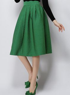 Green High Waist Plaid Skirt - Sheinside.com