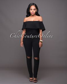 Chic Couture Online - Riyo Black Cut-Out Knees Off-The-Shoulder Jumpsuit.(http://www.chiccoutureonline.com/riyo-black-cut-out-knees-off-the-shoulder-jumpsuit/)
