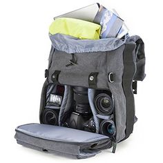 Amazon.com : Camera Backpack, Evecase Canvas DSLR Travel Camera Backpack w/Laptop Compartment & Rain Cover -Gray : Camera & Photo
