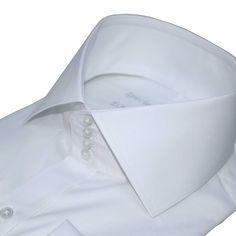 Plain White high collar - John Clothier Plain White Shirt Plain White Shirt, White Shirts, Blue Gingham, Blue Stripes, Mens High Collar Shirts, Blue Check, Collar Styles, Collar And Cuff, Check Shirt