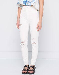:HIGH RISE RIPPED SKINNY JEANS