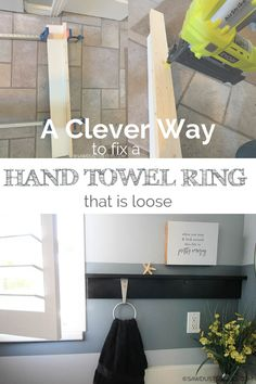 How to Fix a Towel Ring Holder that is Loose - Sawdust Sisters Black Spray Paint, Make Up Organiser, Wall Anchors, Towel Rings, Hanging Shelves, Best Blogs, Home Repairs, Best Budget, Hacks Diy