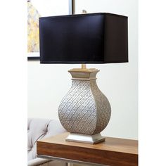 Abbyson Living Geneva Silver Embossed Table Lamp (Resin) featuring polyvore, home, lighting, table lamps, silver, black light, resin table lamps, light bulb shade, colored lights and silver light