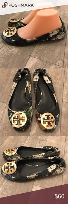 Tory Burch Reva Wally Printed Denim Ballet Flat Overall good condition with wear on right toe and small scratches on emblem (see photos). Still have tons of life left in them! Rare. HTF. Tory Burch Shoes Flats & Loafers
