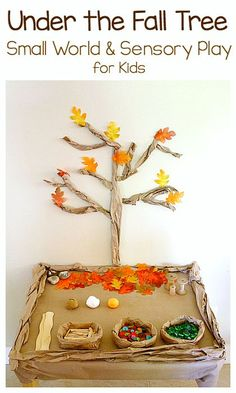 Under the Fall Tree Small World and Sensory Play: Set up this loose parts…