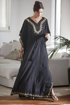 Black and Gold Kaftan Dress Woman's Black Moroccan Maxi