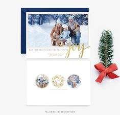 Holiday Card Template - Joy - Gold Calligraphy Christmas Photo Card - Photoshop Template - Instant Download - Sku HC003
