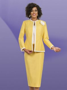 Style 11511 from Ben Marc Executive is a three piece women's church suit that features a 25 inch jacket and 30 inch skirt.
