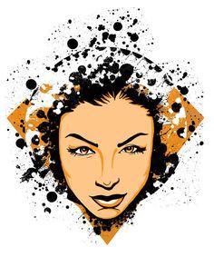 Female Face Splatter by Joe Baron Design http://www.designbyhumans.com/shop/t-shirt/face-splatter/37256/  #portrait #designbyhumans #dbh #dbhcollective #splatter #paintsplatter #pinups
