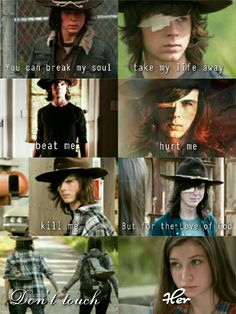 """""""You can break my soul, take my life away, beat me, hurt me, kill me, but for the Love of God, don't touch HER."""" Carl Grimes and Enid 