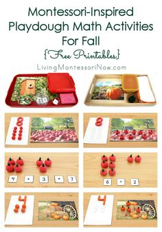 These Montessori-inspired playdough math activities use free printables for activities such as apple or pumpkin numbers and counters, hands-on math operations, greater than, and less than. The activities can be adapted for toddlers through first graders.