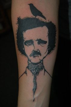 Edgar Allen Poe and the Raven by Lui at Sacred Chao Tattooing & Piercing in Valparaiso, IN