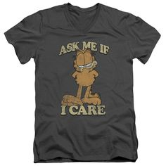 Garfield/Ask Me Short Sleeve Adult T-Shirt V-Neck in Charcoal