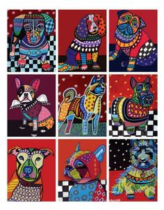 MODERN DOG Art ACEO Print Set by HeatherGallerArt on Etsy, $24.00