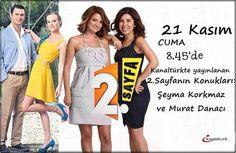 Kanal Türk ekranlarında yayınlanan 2.sayfa programına Beni Affet dizisi oyuncuları Feride ve Cüneyt karakterlerini canlandıran Murat Danacı Şeyma korkmaz k