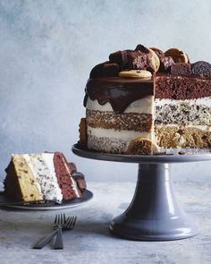 Layers of chocolate chip cookie cake, oreo cake, chocolate cake and a chocolate ganache on top! Boom!