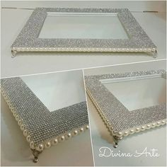 How to make easy and effective bling cake stand Picture Frame Tray, Bling Cakes, Pearl Crafts, Wedding Gift Wrapping, Diy Mirror, Diy Wedding Decorations, Pearl Decorations, Craft Tutorials, Dollar Stores