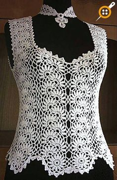 Lace Blouse Models - Very Stylish White Lace Blouse Examples - Knitting T-shirt Au Crochet, Cardigan Au Crochet, Beau Crochet, Pull Crochet, Gilet Crochet, Mode Crochet, Crochet Shirt, Crochet Woman, Irish Crochet