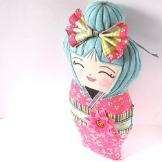 Kokeshi Doll, Handmade Asian Doll, Smiling Doll, Japanese Kokeshi Doll, Collectible, Happy Doll by zouzoudesign on Etsy https://www.etsy.com/listing/211021946/kokeshi-doll-handmade-asian-doll-smiling