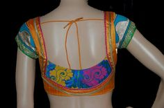 Trendy blouse design - orange and blue