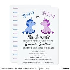 Shop Gender Reveal Unicorn Baby Shower Invitation Card created by OneLook. Cute Little Baby, Little Babies, Harry Potter Invitations, Baby Shower Invitation Cards, Unicorn Baby Shower, Little Unicorn, Reveal Parties, Baby Shower Games, Gender Reveal