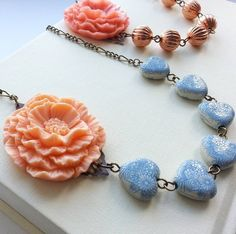 Lovely new necklaces available from Hart and Bloom on notonthehighstreet.com! Flower Necklace With Vintage Beads