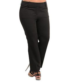 Take a look at this Black Straight-Leg Pants - Plus by Ami Sanzuri on #zulily today!