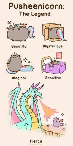 Cat Art... =^. ^=... ❤...Pusheen the Cat... Pusheenicorn the Legend... By Artist Unknown...