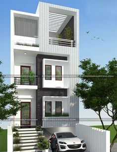 Architect Design House, Duplex House Design, Modern House Design, Home Building Design, Home Design Plans, Building A House, Narrow House Designs, Cool House Designs, House Architecture Styles