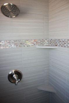 Tile design in master bathroom shower Tile design in master bathroom shower Master Bathroom Shower, Tiny House Bathroom, Bathroom Showers, Bling Bathroom, Bathroom Small, Mosaic Bathroom, Accent Tile Bathroom, Modern Bathroom, Glitter Bathroom