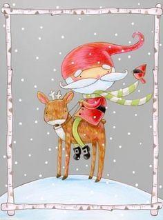 Santa and Reindeer by Ronnie Rooney