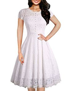1a91112aff3 Amazon.com  OWIN Women s Retro Floral Lace Cap Sleeve Vintage Rockabilly  Swing Prom Party Bridesmaid Dress  Clothing