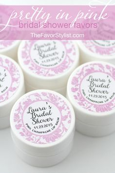 Say I do to Pink Champagne bridal shower favors you'll be excited to share with your guests. Click to see how we can personalize for the bride's big day, whether it's a bridal tea or lingerie shower! #bridalshower, #partyfavors, #favors, #lingerieparty
