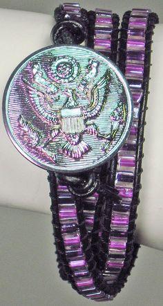 Bead Leather Bracelet Wrap Eagle Military Purple Black Glass Button. $47.00, via Etsy.