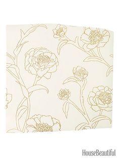 Peonies Peel-and-Stick Wallpaper. housebeautiful.com. #peonies #wallpaper