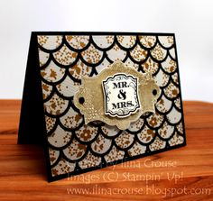 My Creations - Gold Soiree wedding card. Cool use of the new Striped Scallop thinlit die.