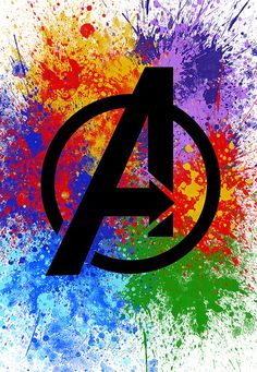 Colorful Avengers Logo Poster With Colourful Splatter Ink Behind Logo - Printable Wall Art - Visual Graphic Digital Print - Kids Room Poster - Marvel Comics Fan Marvel Avengers, Hero Marvel, Marvel Logo, Marvel Art, Marvel Movies, Avengers Poster, Avengers Room, Avengers Pictures, Avengers Imagines