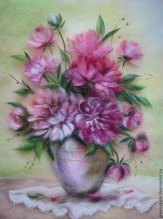 """Картины цветов ручной работы. Ярмарка Мастеров - ручная работа. Купить """"Пионы"""". Handmade. Фуксия, пионы в вазе, картина с пионами"""