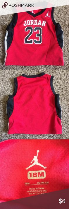 Baby Boy Red Jordan Jersey Size 18 mo Cute little sleeveless jersey tank for your little baller. Comfortable material and no itchy back tags. Great used condition from a smoke free home. If you have any questions or requests don't hesitate to contact me! Thank you! Shirts & Tops Tank Tops