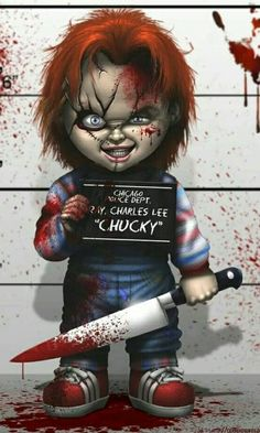 Chuqui Horror Movie Posters, Horror Movie Characters, Horror Icons, Horror Movies, Scary Wallpaper, Skull Wallpaper, Halloween Drawings, Halloween Pictures, Chucky Movies