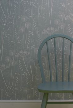 Hannah Nunn: Paper Meadow #wallpaper in teal at Elmet Farmhouse with #Ercol chair
