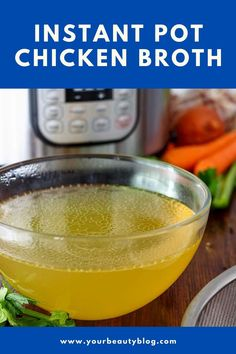 How to make DIY Instant Pot chicken broth (chicken stock or bone broth).  This is made with a rotisserie chicken or a whole chicken carcass and vegetables and herbs and spices. Pressure cooking gives this a rich flavor.  This is a healthy recipe with no added salt or preservatives. It's ready in an hour with the instapot. Preserve the broth with canning or freezing. Use this easy homemade broth for soup or cooking or other uses. #instantpot #chickenbroth