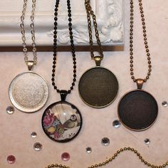 15 sets, Complete DIY Pendant Kits, 30mm Circle, Metal Bezels + Glass Cabochons+ Chain Necklaces, Choice of 4 Color