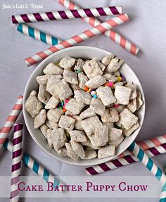 Cake Batter Puppy Chow - Julie's Eats & Treats