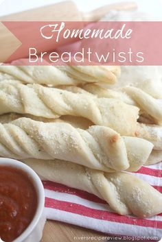 Homemade Breadtwists Recipe ~ This pizza dough is the best... It is so soft and easy to roll out, and if you are afraid of making bread or think it is hard, this is easy!  They taste like the Pizza Factory Breadsticks, yum!