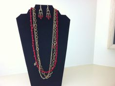 Ruby & Multi Chain Necklace Matching Chandelier Earrings