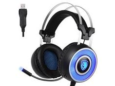 SADES A9 Gaming headset,USB Over Ear Gaming Headphones with Microphone ,7 colors Breathing LED Lighting for Pc