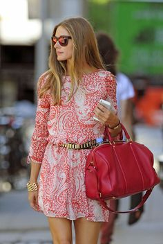 Olivia Palermo steps out pink paisley patterned
