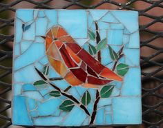 Outdoor mosaic art  Bird in tree top by MadeByNatalieK on Etsy